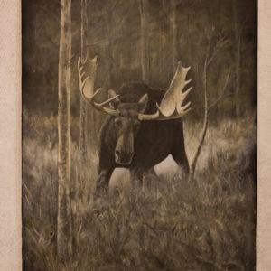 maleri på lerret elgokse